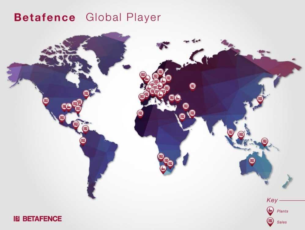 Le Groupe BETAFENCE à travers le monde
